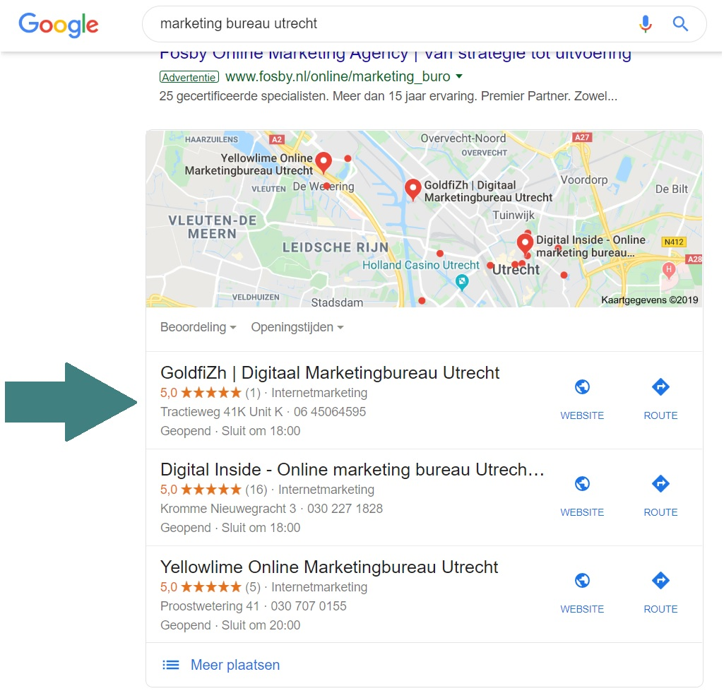 Google SERP: digitaal marketing bureau utrecht