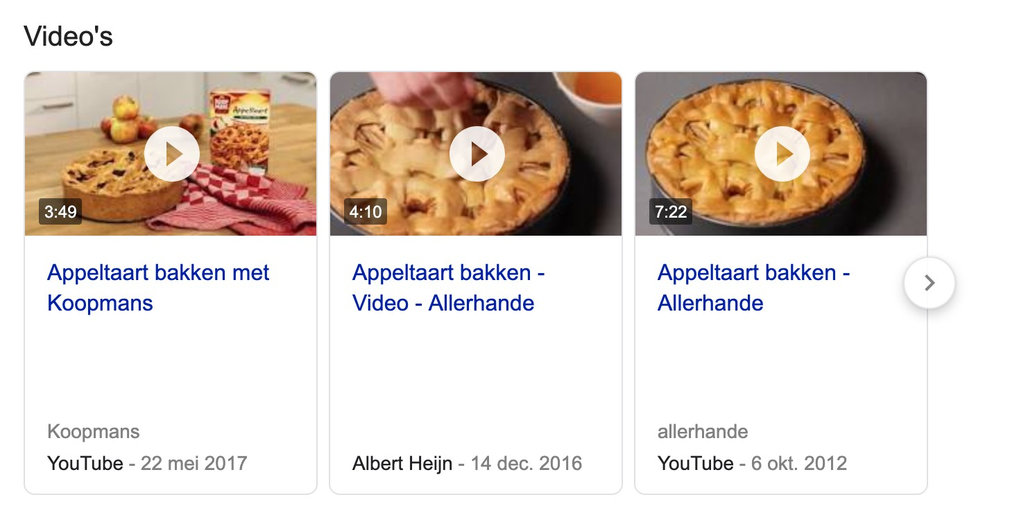 appeltaart in serp google